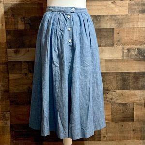 Vintage Ralph Lauren Denim Button Front Midi Skirt